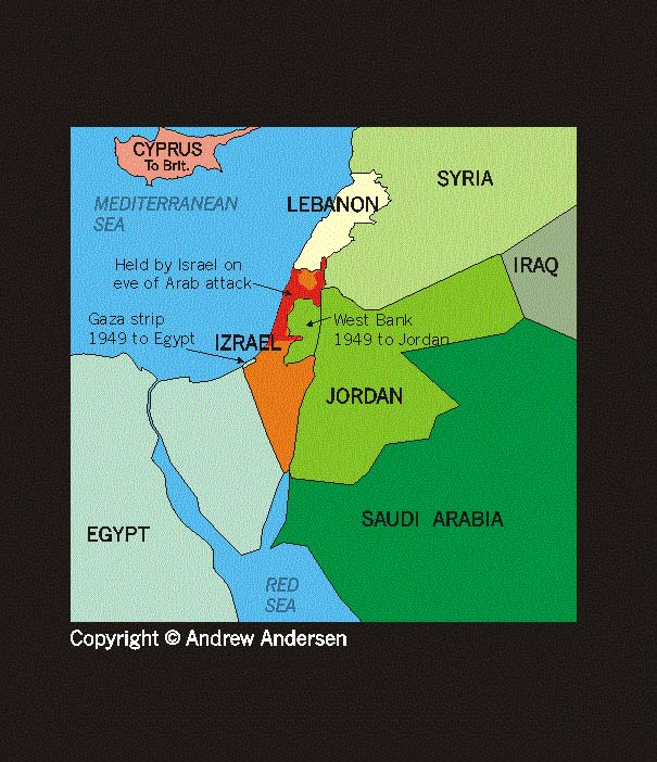 ISRAEL PALESTINE - Map of egypt jordan and israel