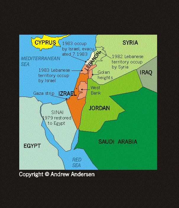 ISRAEL PALESTINE - Map of egypt israel jordan