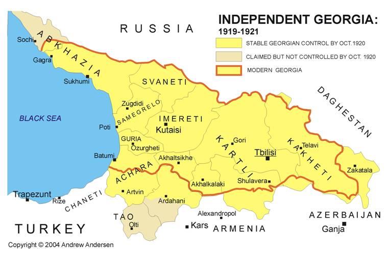 mapa niepodległej gruzji
