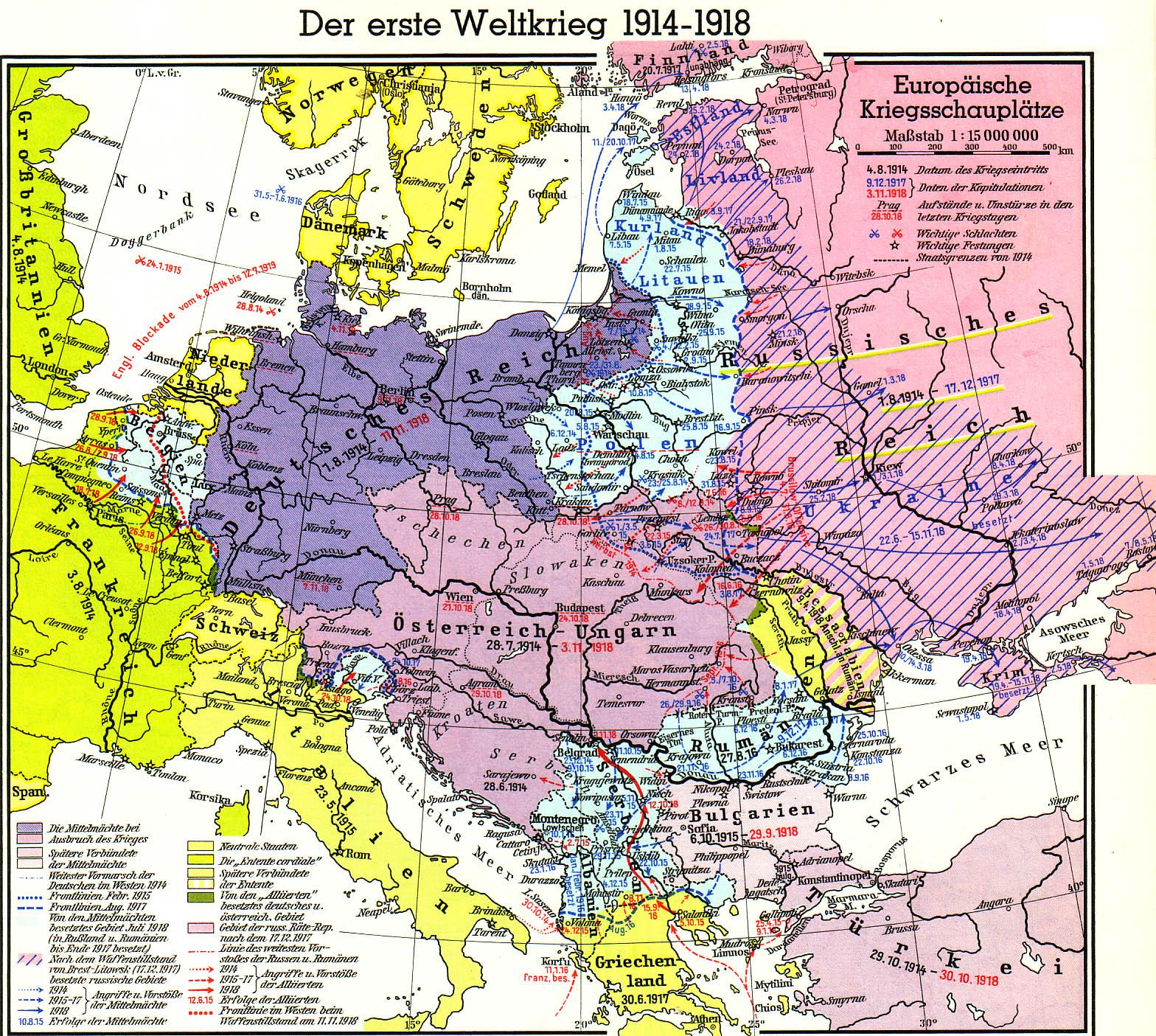 Europäische Kriegsschauplätze 1914 – 1918